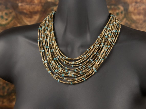 Multistrand blue apatite and brass bead necklace | multi-strand brass statement necklace  | apatite gemstone beads | pretty necklaces