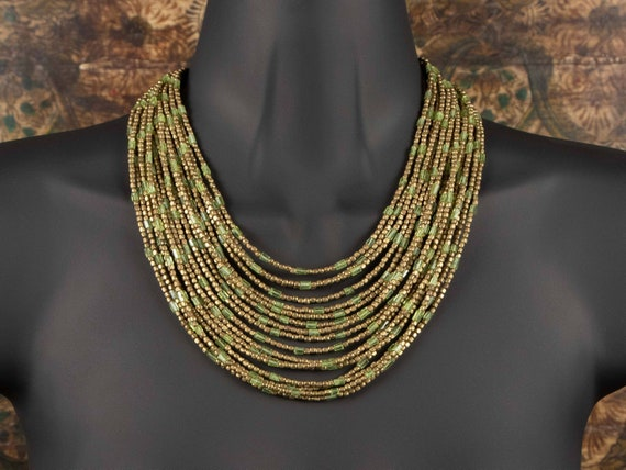 Peridot and Brass Multi-Strand Statement Necklace | antiqued brass bead and faceted peridot bead necklace