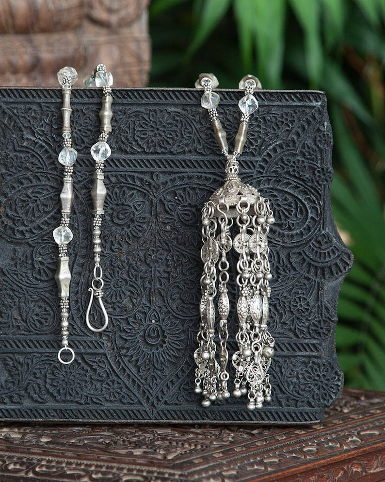 Modern Antiqued Silver tubes Strand Large Ethnic Pendant with Tassels Necklace