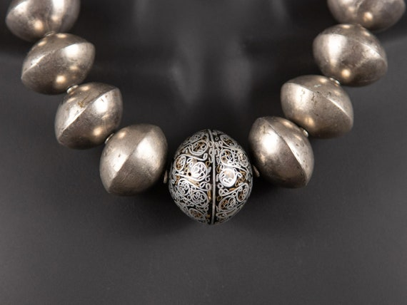 Moroccan silver inlay bead and Mali silver bicone bead necklace | silver statement necklace | vintage silver beads | modern ethnic jewelry