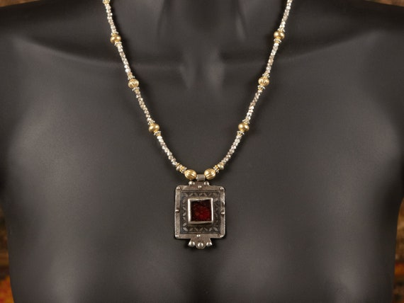 Moroccan Ida Ou Nadif niello & red glass pendant necklace   gold and silver beads   tribal bling   modern Moroccan jewelry