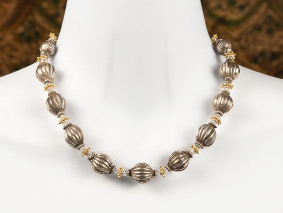 Antique India silver melon bead necklace with Swarovski crystals | tribal silver statement necklace | rare collectible beads