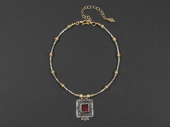 Moroccan Ida Ou Nadif niello & red glass pendant necklace | gold and silver beads | tribal bling | modern Moroccan jewelry