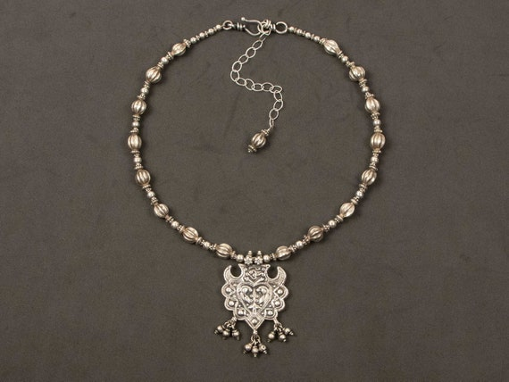 Ethnic silver necklace | Gorgeous vintage Rajasthan silver pendant with antique fluted silver beads from India | tribal silver necklace