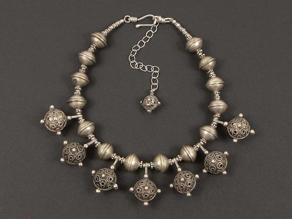 Antique Berber silver hair ornament bead necklace   Moroccan jewelry   unique tribal silver necklace   Berber silver statement necklace