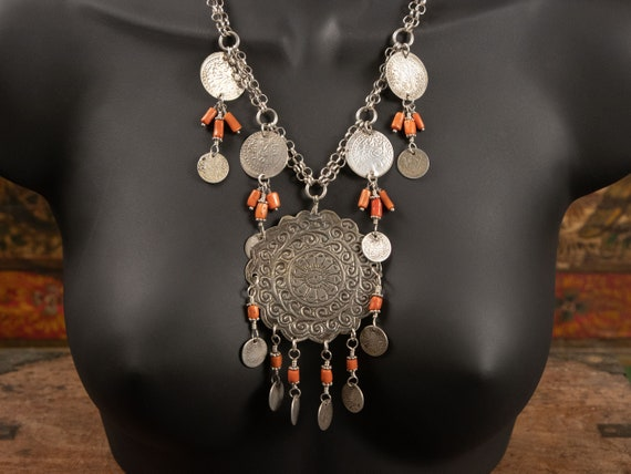 Moroccan Necklace | Berber silver pendant necklace with antique Moroccan coral and ethnic silver coins | modern ethnic jewelry