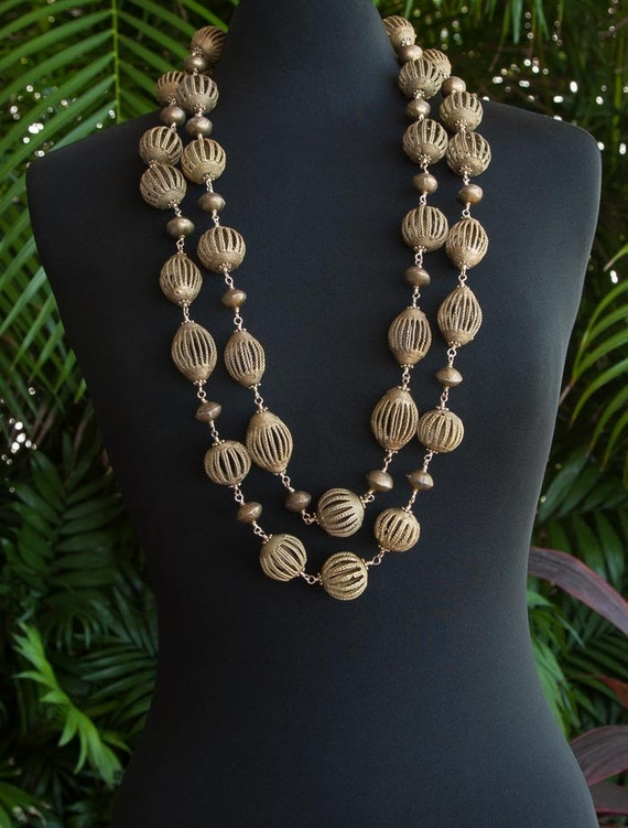 Big bold brass bead necklaces