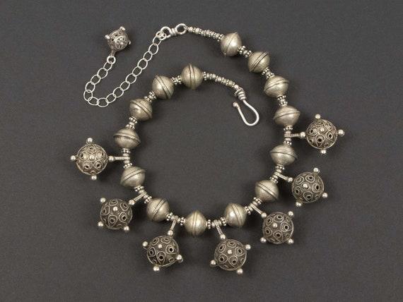 Antique Berber silver hair ornament bead necklace | Moroccan jewelry | unique tribal silver necklace | Berber silver statement necklace