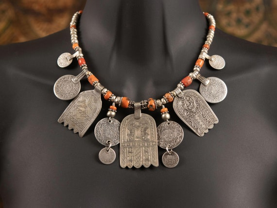 Moroccan hamsa necklace | 3 vintage hamsa pendants with antique Berber coins and Saharan coral on ss chain | one of a kind ethnic jewelry