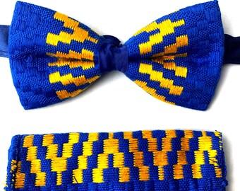 fe5bafccdf8e Kente Bow Tie Set & Handkerchief- Royal Blue