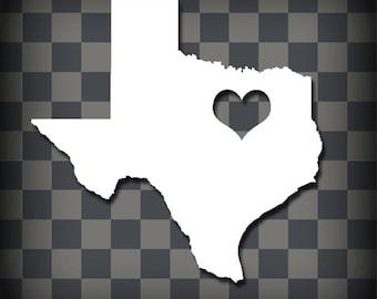 Heart of DFW Texas Vinyl Decal