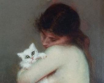 Antique Painting Maria Labat Oil On Panel Original Old Vintage