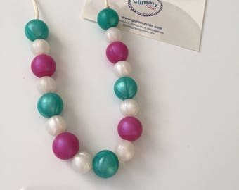 Chewable necklaces - Baby necklace- Teething sensory necklace - Fiddle necklaces - Chomp beads - Biting necklace - Silicone jewelry for kids