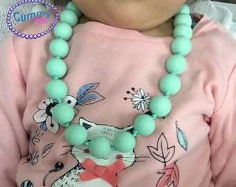 Mint Baby Teething Necklace - Toddler Silicone Necklace - Silicone Kid Necklace with Knots - Play CHEW Jewelry - Discreet Sensory Jewelry -