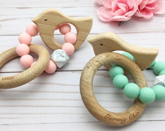 Pick Your Color Teething Ring   Baby Wood Rattle   Baby Teether Rattle   Silicone and Wood Teether   Baby Rattle   Wood Teething Ring