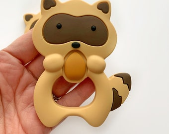 Raccoon Baby Teether | Newborn Gift | Freezer Silicone Teether | Woodland Creature Baby Shower