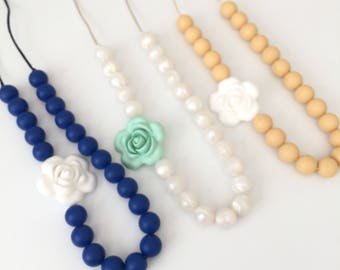 Teething Necklace for Mom | Nursing Necklace | Teething Necklace | Bite Beads Necklace | Chewlery | Silicone Necklace | Teether Choose Color
