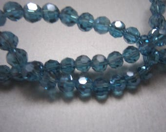 Shades of blue faceted glass beads