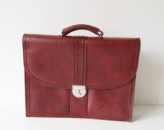 Faux leather briefcase in bordeaux, old school bag