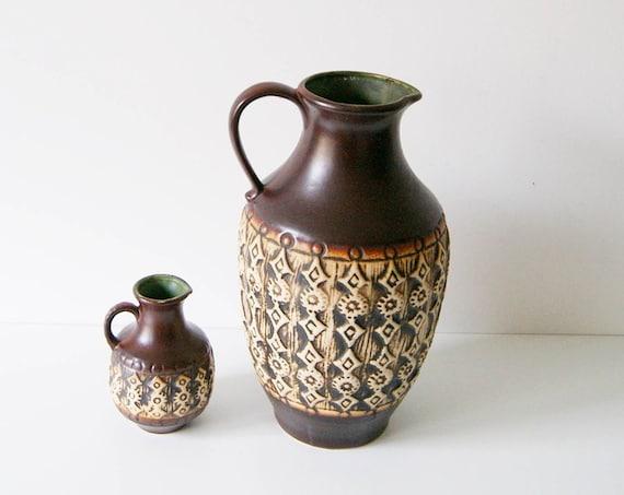 Jasba Vases Set in Brown Beige, Jug Vase