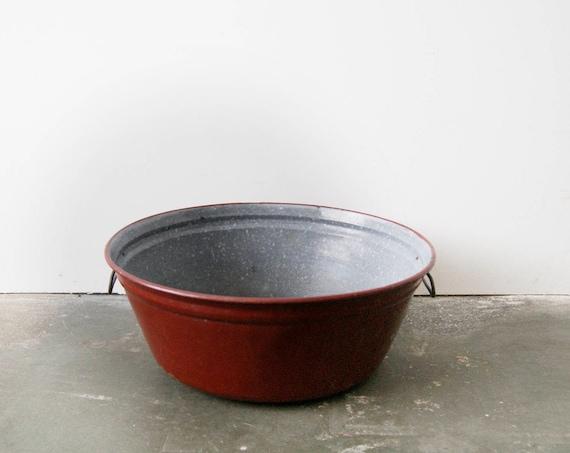 Enamel bowl burgundy gray, enameled tub, planter metal