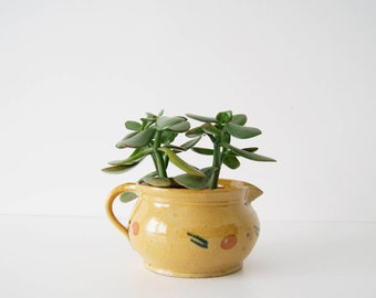 Can rustic antique, earthenware, ceramic jug, handle pot, flower pot ochre, kitchen décor old