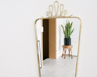 Brass mirror mid century, large wall mirror, mirror framed gold