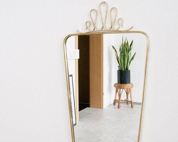 Mid Century Brass Mirror, Large Wall Mirror, Mirror Framed Gold