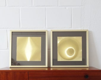 Helios Gold Graphic Holograms, Space Age Pop Art Design, Golden Wall Art Framed