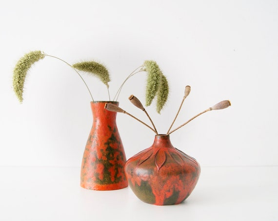 Vases Set, Studio Pottery, Ruscha, Ceramics, Small Vases, Red Vases Vulcano