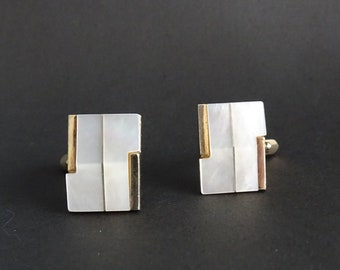 rectangular cuffheads gold-coloured with mother-of-pearl, vintage men's jewelry