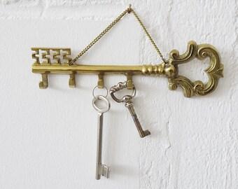 Brass key hook strip, key hanger 70s