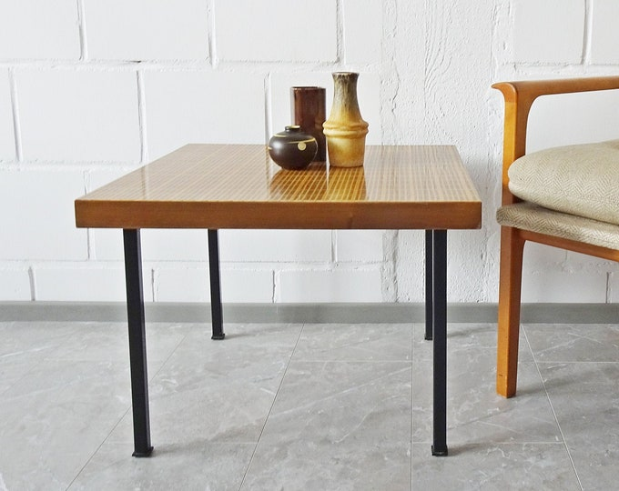 Featured listing image: square coffee table with Viennese braid, 60's side table