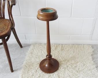 turned ashtray made of wood and ceramics, Art Deco ashtray