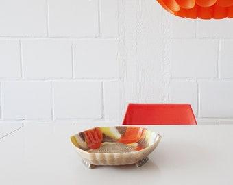 Art Deco Carstens Gräfenroda ceramic earthenware bowl orange yellow on three feet, colorful fruit bowl