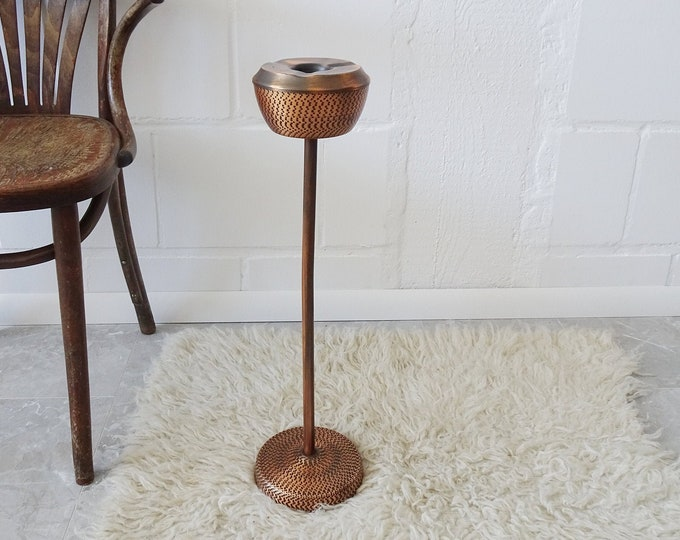 Featured listing image: Vintage standa ashtray made of copper, mid century metal ashtray