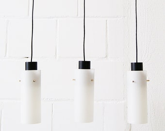 Pendant lamp three-armed in opal glass and metal, cascade lamp, minimalist lighting