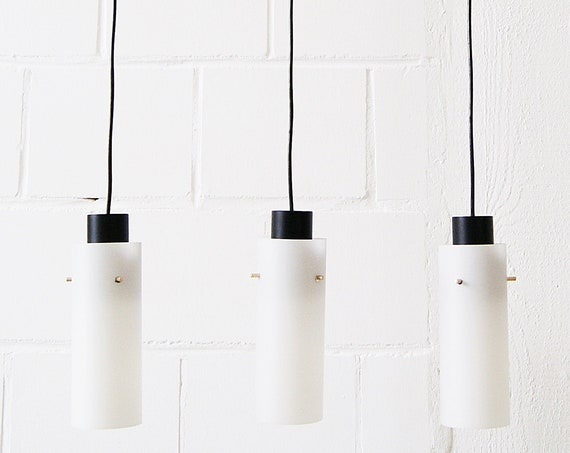 Three-arm pendant lamp made of opaline glass and metal, cascade lamp, minimalist lighting
