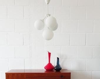 Mid Century Sputnik Chandelier, Rod Lamp Metal Opal Glass White, Ball Lamp