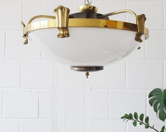 large plafoniere made of opal glass and brass, round ceiling lamp 1960s