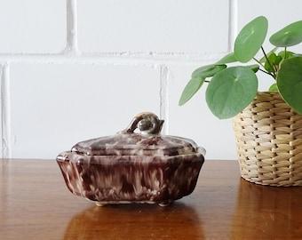 Art Deco Deckeldose Uranglasur, Keramik Schale mit Deckel, Schmuckschatulle