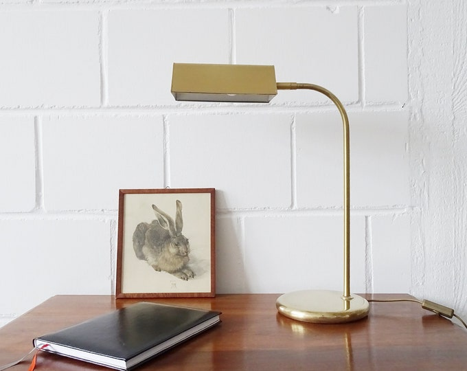 Featured listing image: Brass desk lamp by OMI, golden table lamp, reading lamp