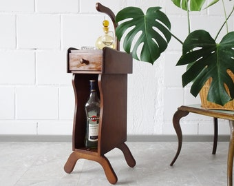 Side table with handle, narrow console, serving table, smoking table