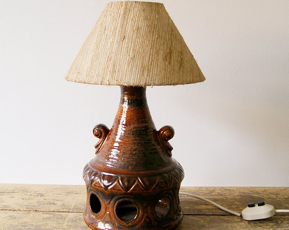 Table lamp ceramic with changeover, mid century lamp, indirect lighting, eea lights