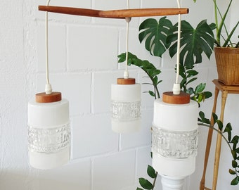 Teak hanging lamp three-flame, Mid Century chandelier made of glass and teak