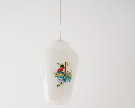Hanging lamp 50s with children motif, glass lamp, lighting nursery