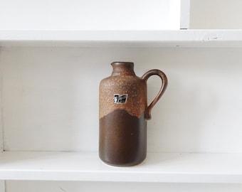 brown vintage ceramic vase of silver thistle fayences