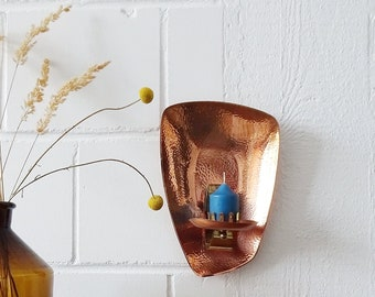 Copper and brass wall candle holder, wall décor metal, large candle holder