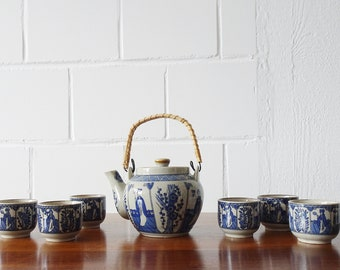 Tea service with Asian décor, ceramic tea service in grey blue