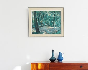 framed print with paint albert weisgerber ride in the English garden